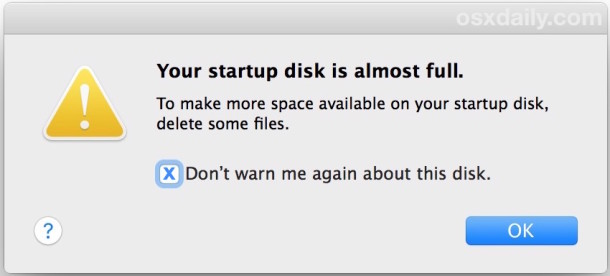 Mac Startup disk is almost full error message, here is how to fix it