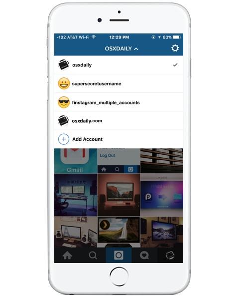 Switching between multiple instagram accounts