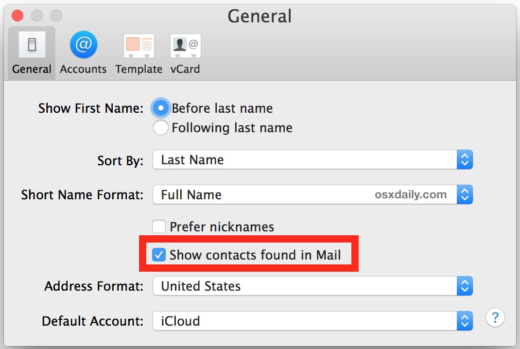 Turn  off contacts found in Mail in Mac OS X