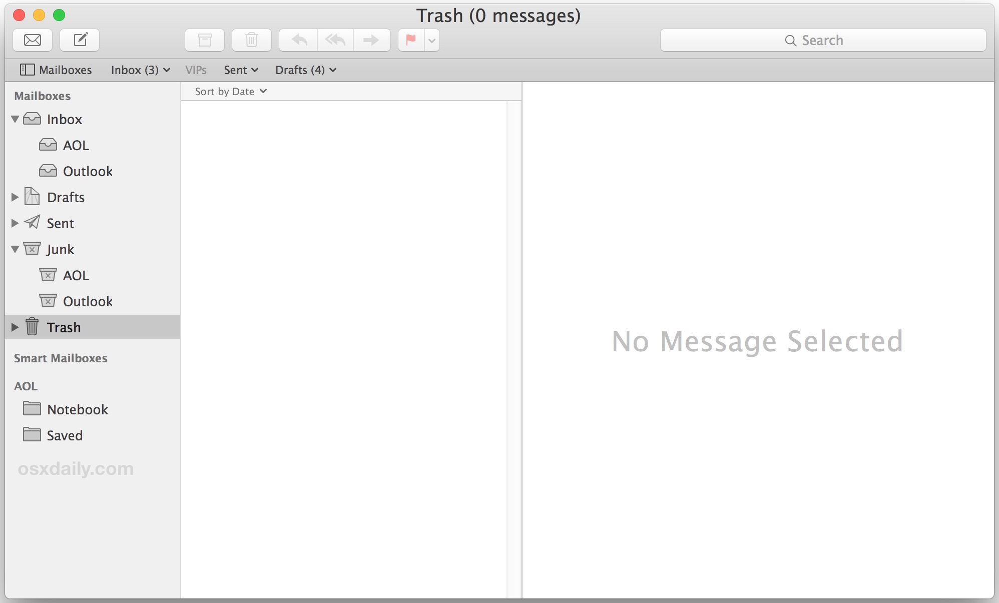 All emails deleted, a blank email app in Mac OS X