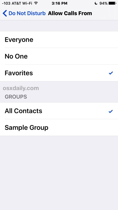 "Allow calls from Favorites or from ""All Contacts"""