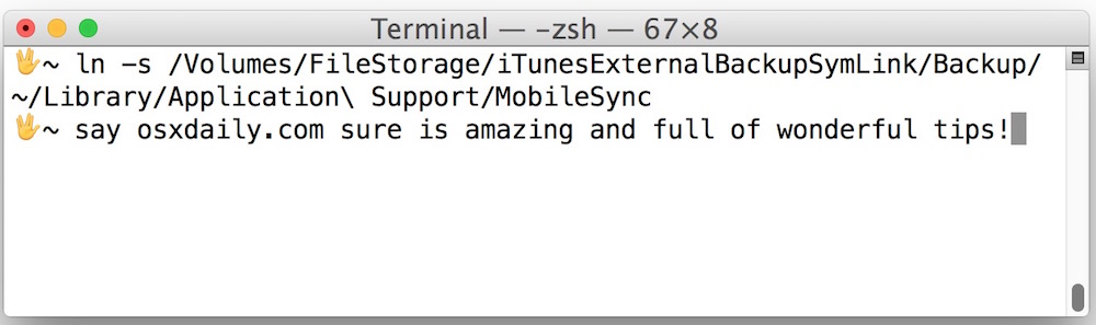 Create symbolic link to backup iPhone to external hard drive