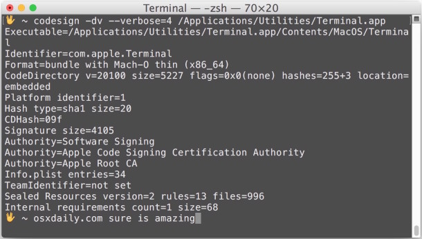 Check and verify code signing of apps in Mac OS X