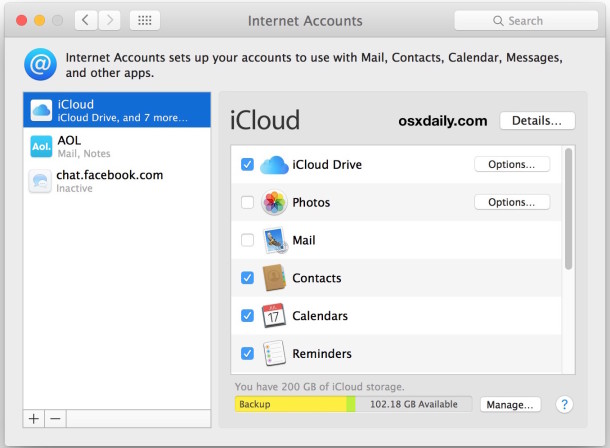 Delete other mail accounts or internet accounts in Mac OS X