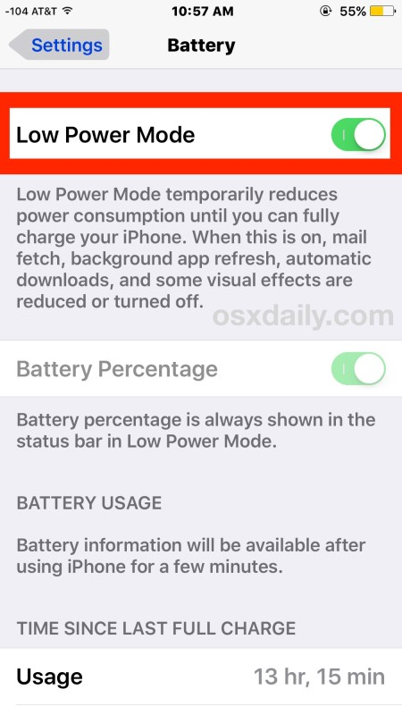 Enable Low Power Mode on iPhone to preserve battery life tremendously