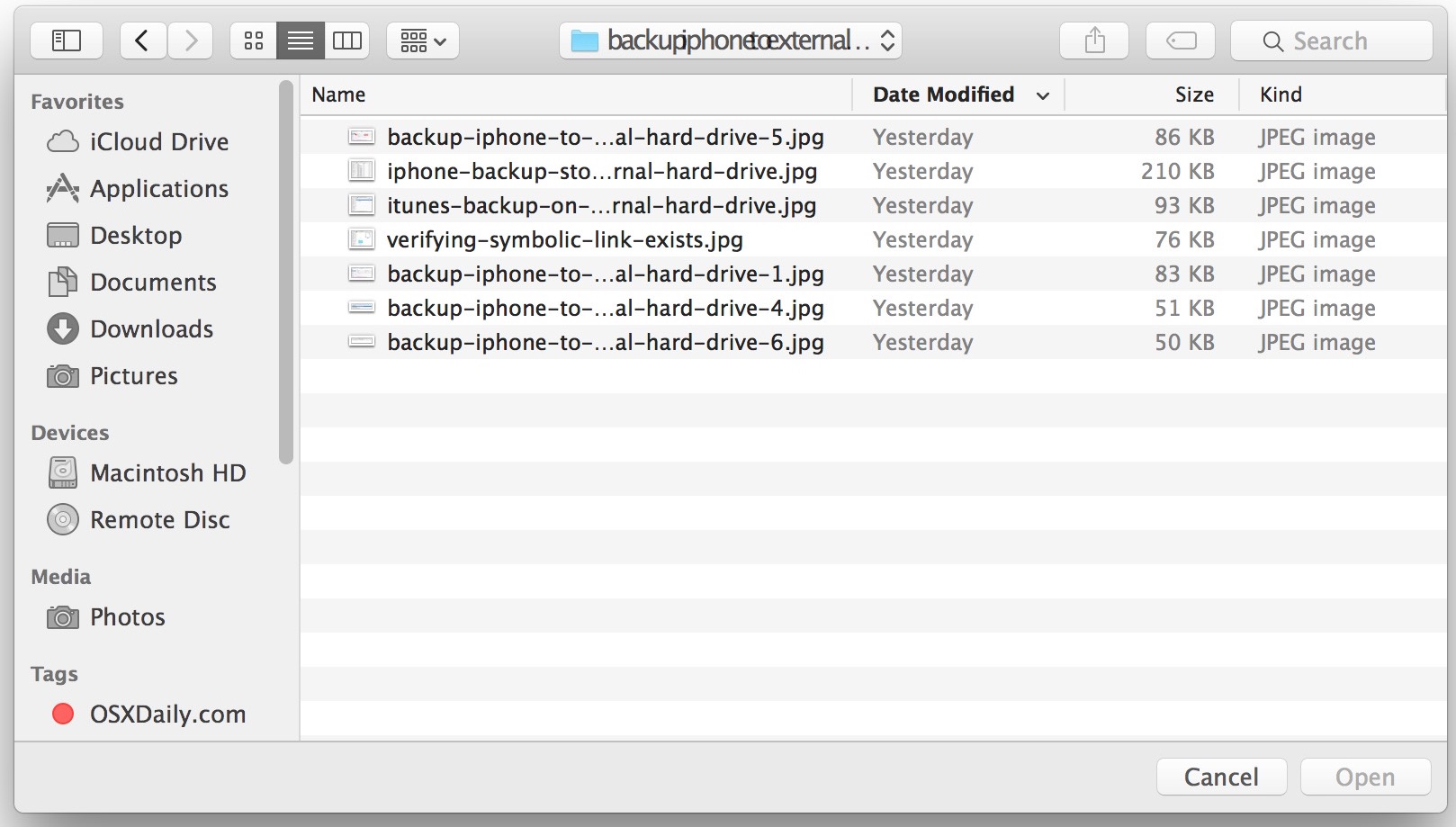 Sidebar visible in Open and Save window of Mac OS X
