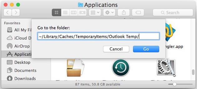 Go to Outlook Temp folder on Mac