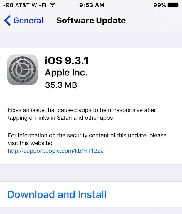 iOS 9.3.1 update install