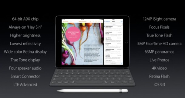 iPad Pro Medium spec sheet