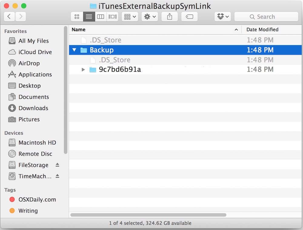 Confirm the iPhone backup from iTunes was made on the external hard drive