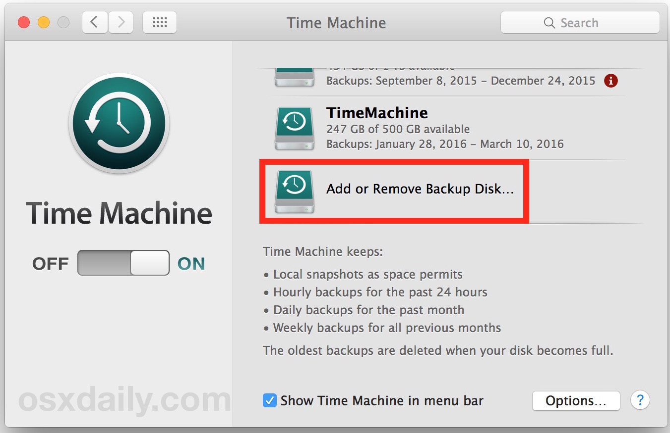 Click to remove a Time Machine drive