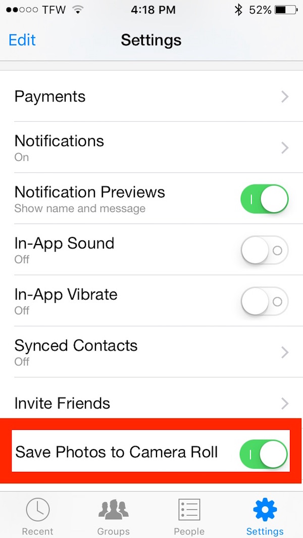 Save Photos to iPhone from Facebook Messenger automatically