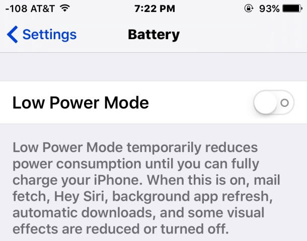 Turning off low power mode removes the yellow battery icon