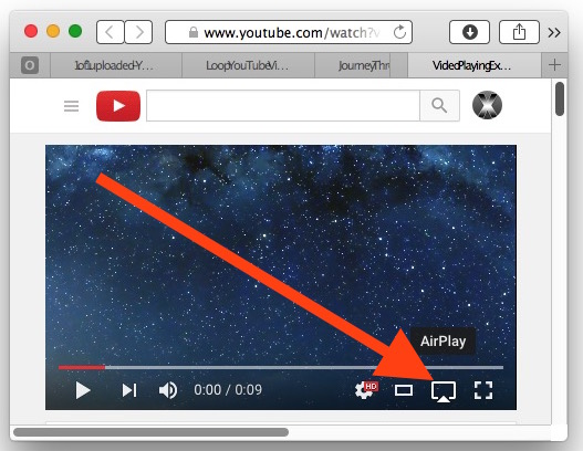 Choose AirPlay on a YouTube VIdoe