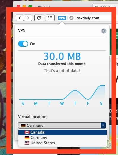 Choose the VPN location in Opera