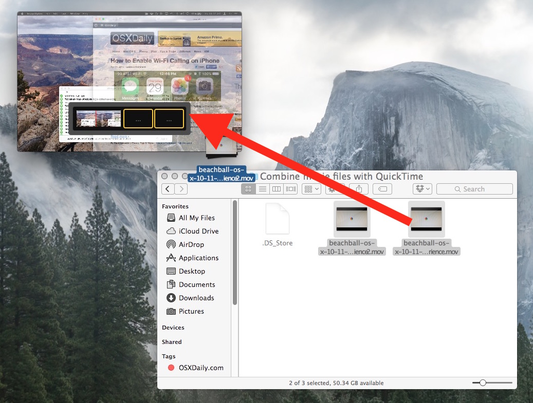 Drag and drop to combine movie files together in Mac OS X with QuickTime
