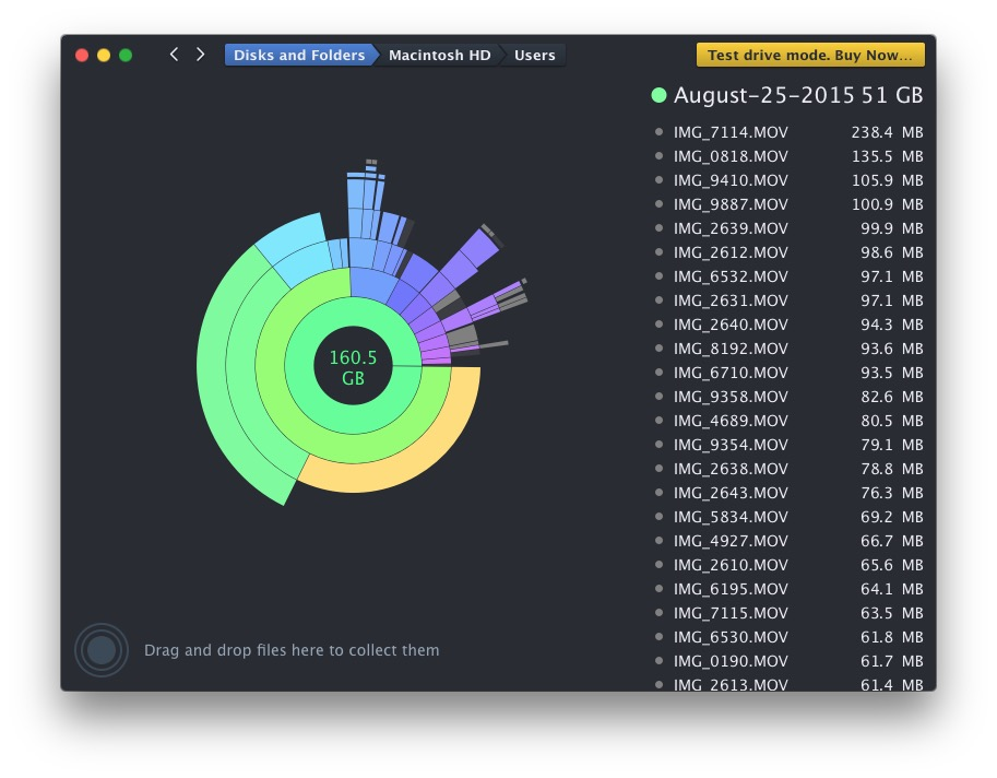 DaisyDisk analyzes disk storage space on a Mac in a very attractive easy manner