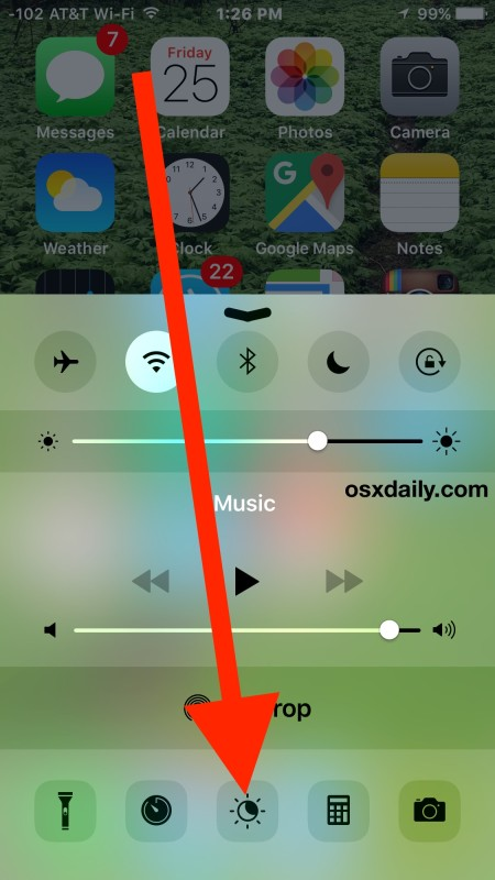 Enable or Disable Night Shift on iPhone from Control Center
