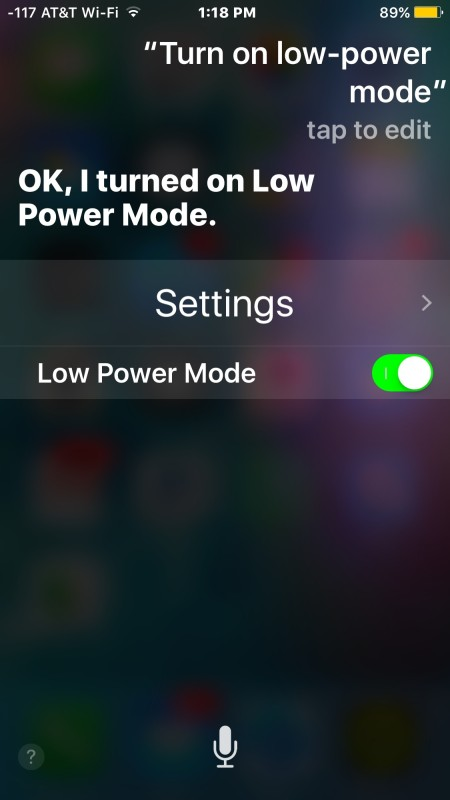 Turning Low Power Mode ON iPhone with Siri