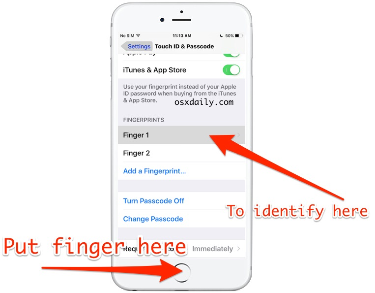 Identify a fingerprint in Touch ID with a match trick