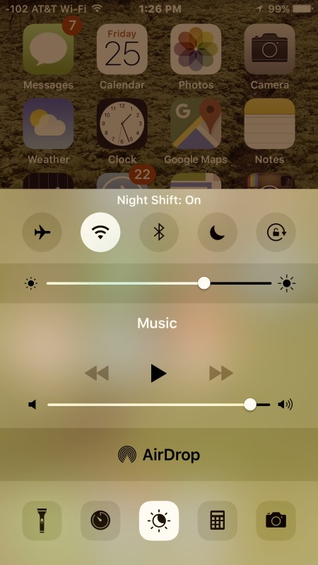 Night Shift enabled on iPhone