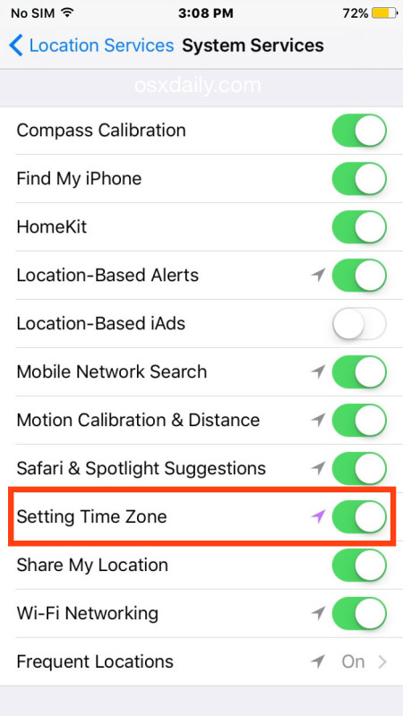 Night Shift scheduling requires time zone settings to be enabled in iOS