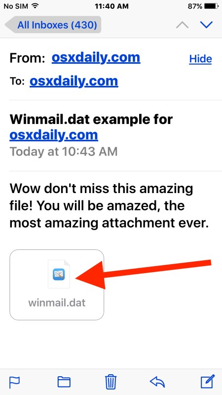 Receiving winmail.dat attachment files in iOS Mail and reading them