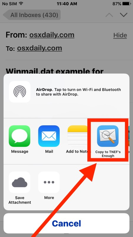 Opening the Winmail.dat attachment file in Mail for iOS