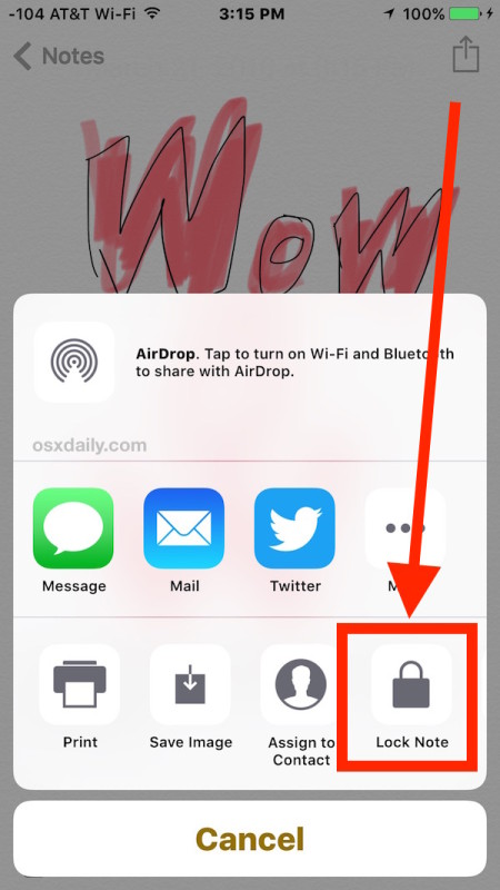 Choose Lock Note in iOS SHaring