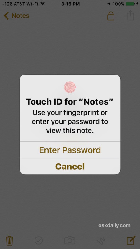 Use Touch ID or enter a password to view the note