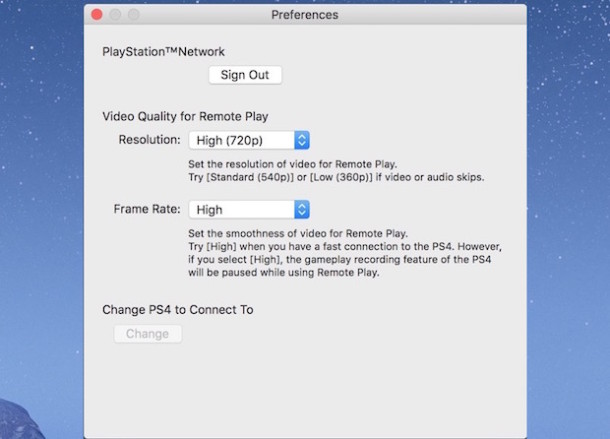 PS4 Remote Play Settings on Mac