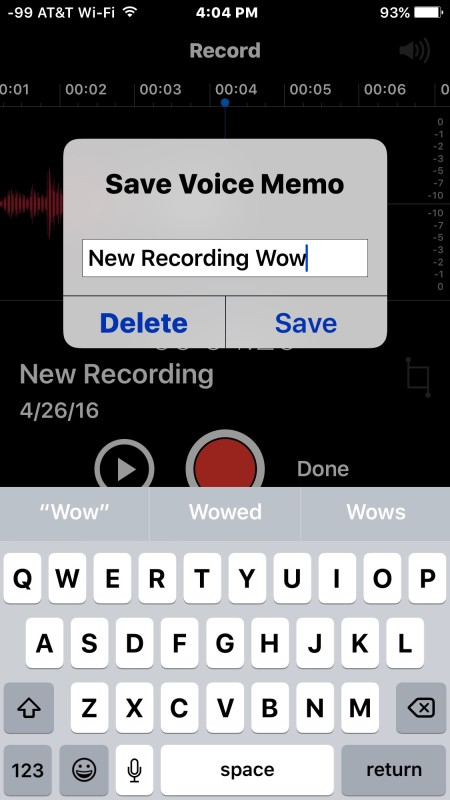 Save the audio recording in voice memos