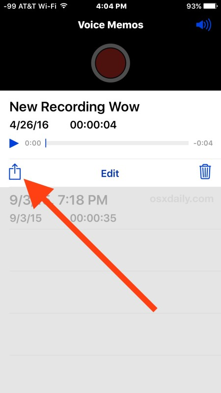 Share a recorded audio or voice memo from iPhone