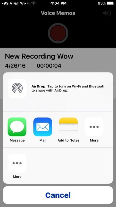 Share voice audio recording through messages or email