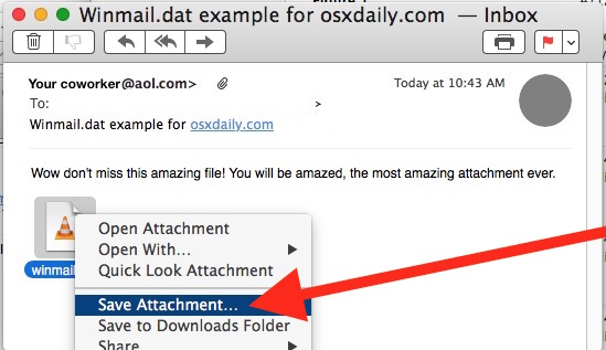 Save a Winmail.dat attachment file from Mail in Mac OS X