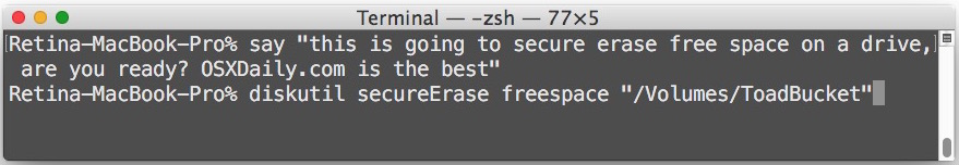 Secure erase free space on a Mac hard drive from the command line