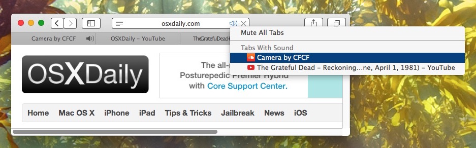 Show all tabs playing sound in Safari