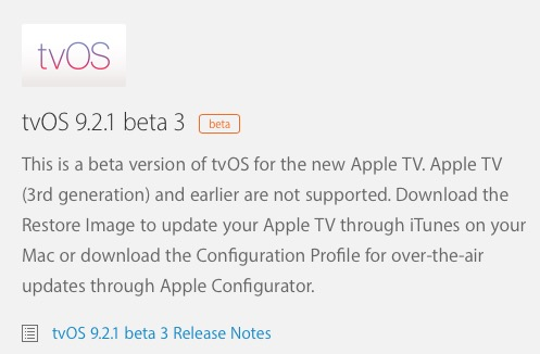 tvOS 9.2.1 beta 3