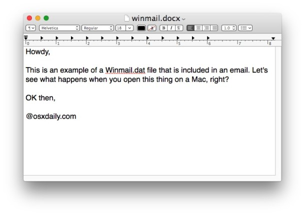 An opened Winmail.dat attachment file in Mac OS X