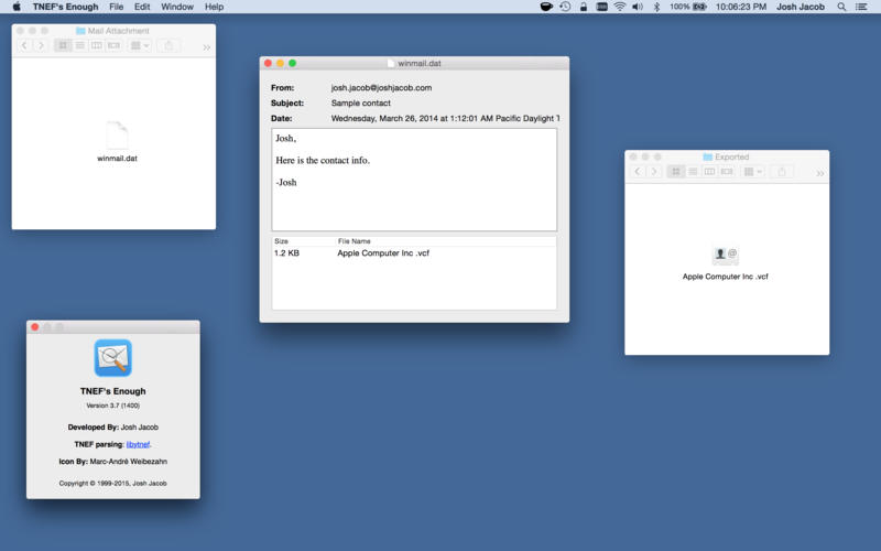 Opening Winmail.dat attachments in Mail for Mac with TNEF Enough