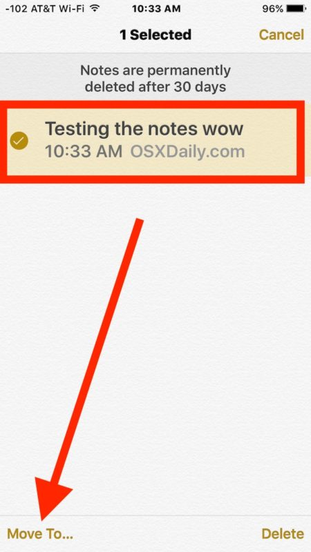 Select the deleted note to recover in iOS