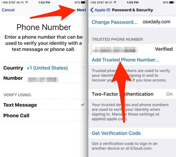 Add trusted numbers to two factor authentication