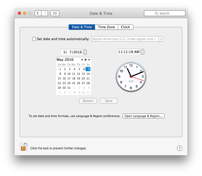 Set the clock manually to fix wrong time in Mac OS X