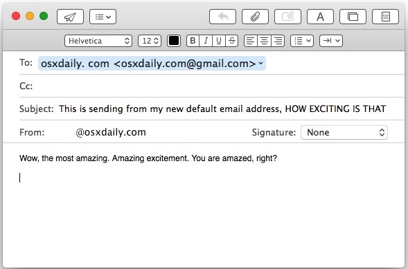 Changed default email address in Mail for Mac OS X