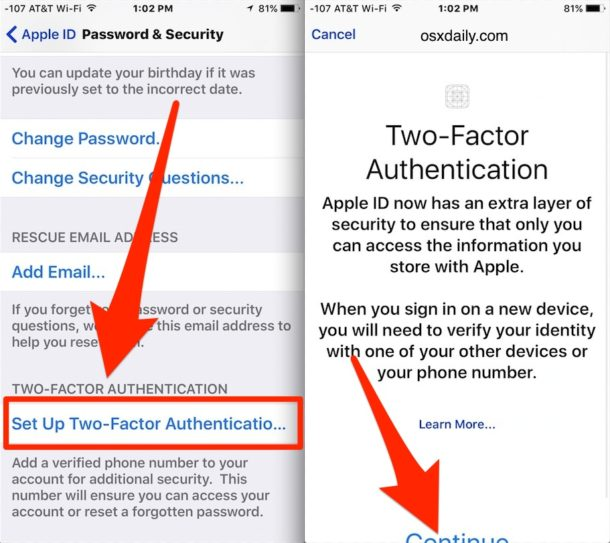 Choose to enable Two Factor Authentication