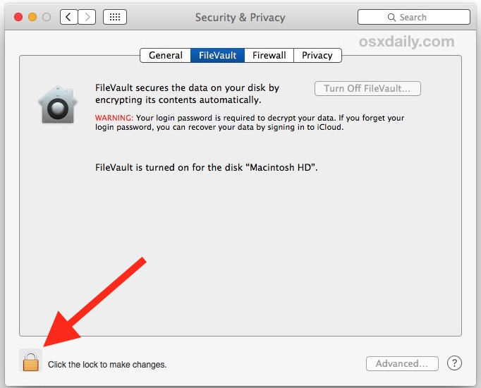AUthenticate the Filevault control panel