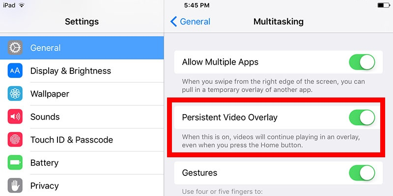 Disable Persistent Video Overlay on iPad