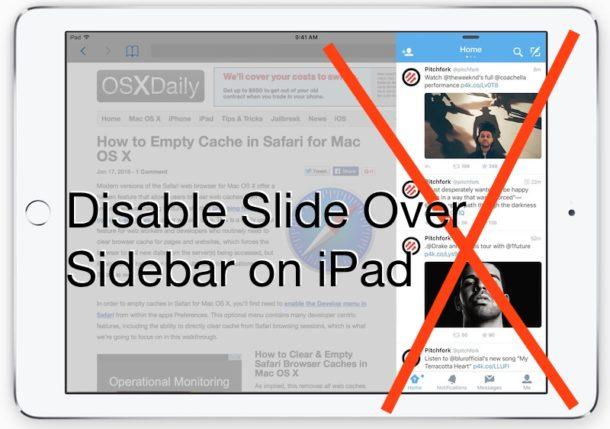 Disable Slide Over Sidebar on iPad