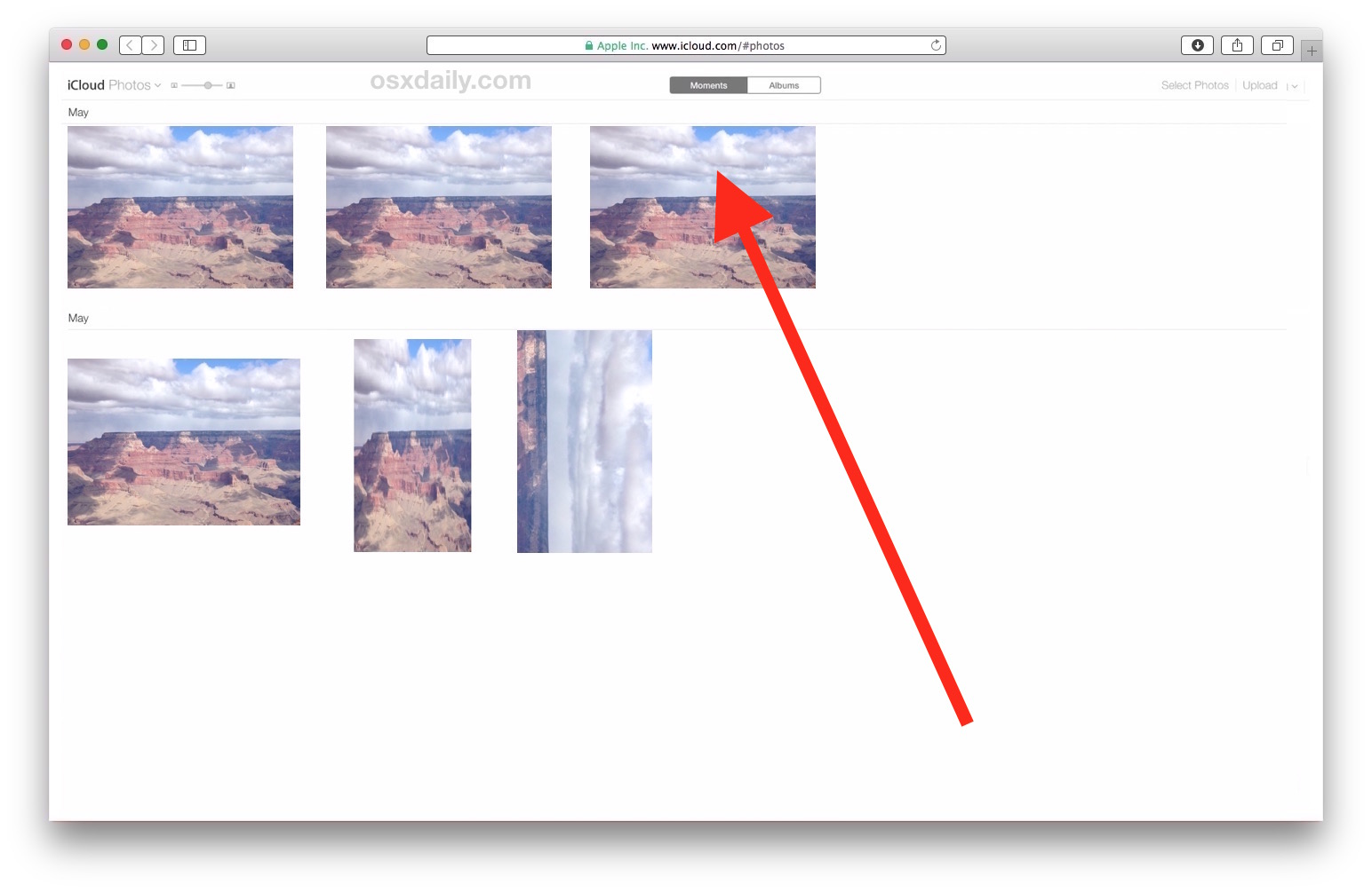 Choose the photo you want to download from iCloud