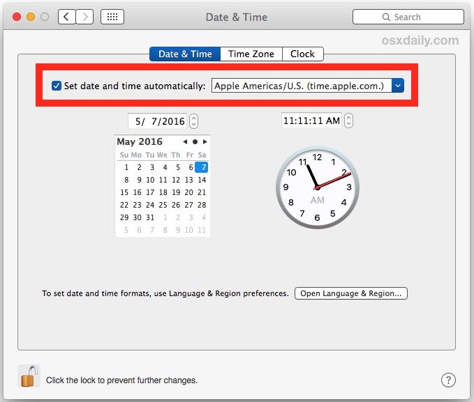 Set date and time automatically to fix wrong clock display on Mac